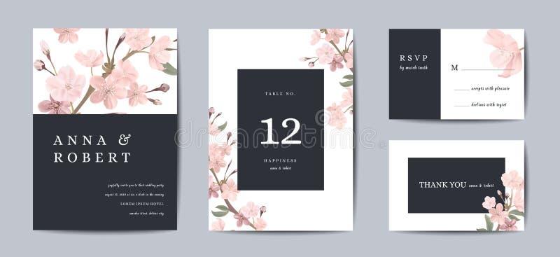 Tarjeta retra botánica de la invitación de la boda, reserva del vintage la fecha, diseño de la plantilla de flores de Sakura y ho stock de ilustración