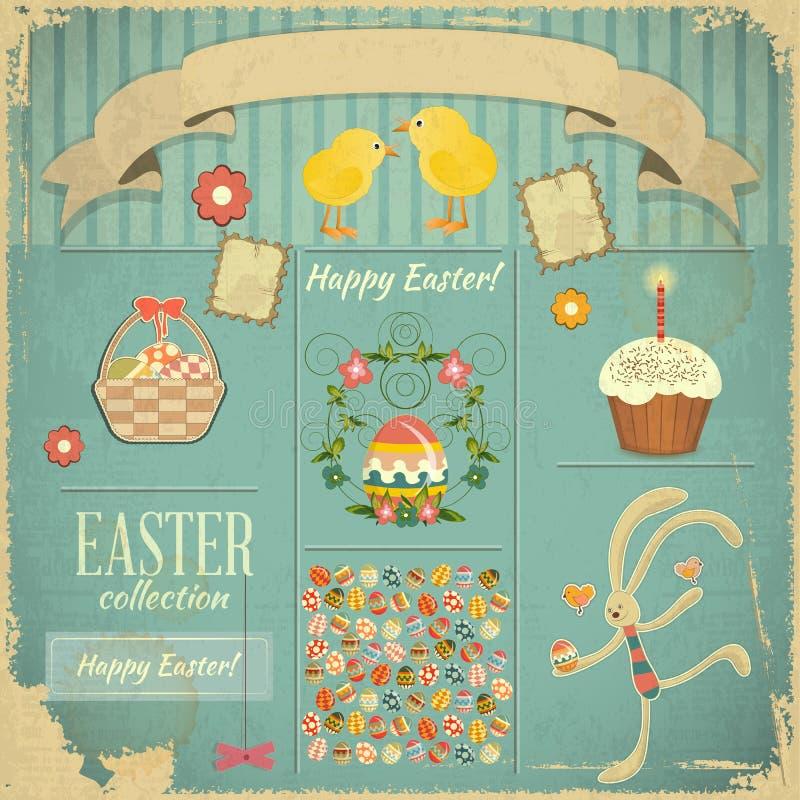Tarjeta retra con el conjunto de Pascua stock de ilustración