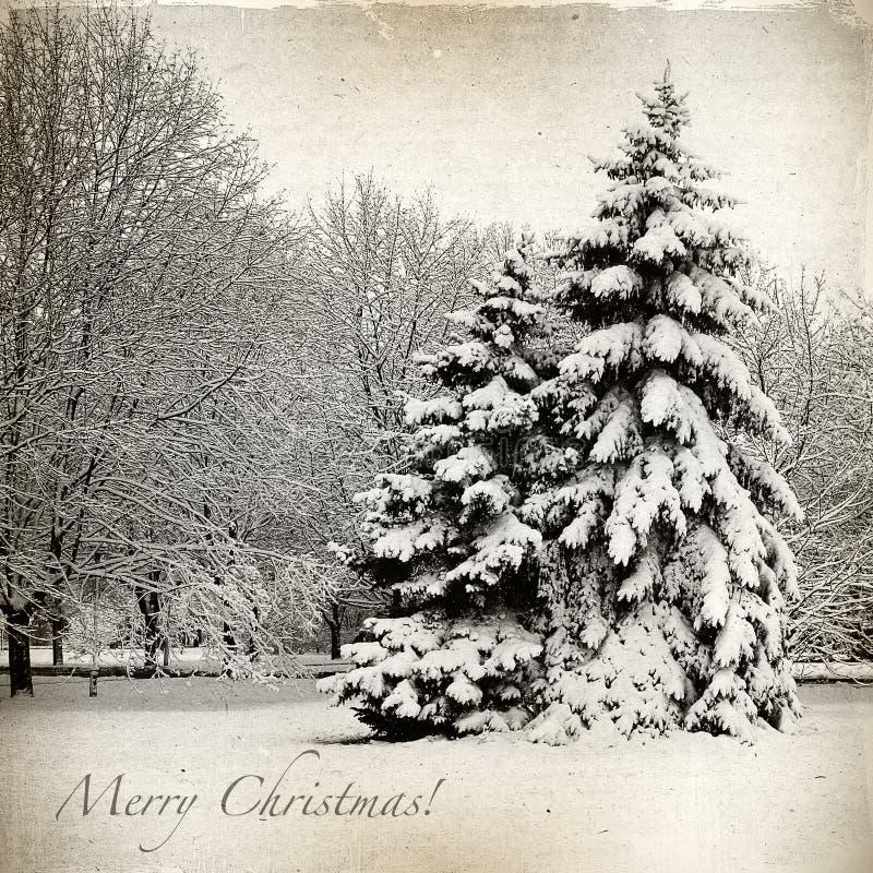 Tarjeta retra con la Navidad, paisaje del invierno libre illustration