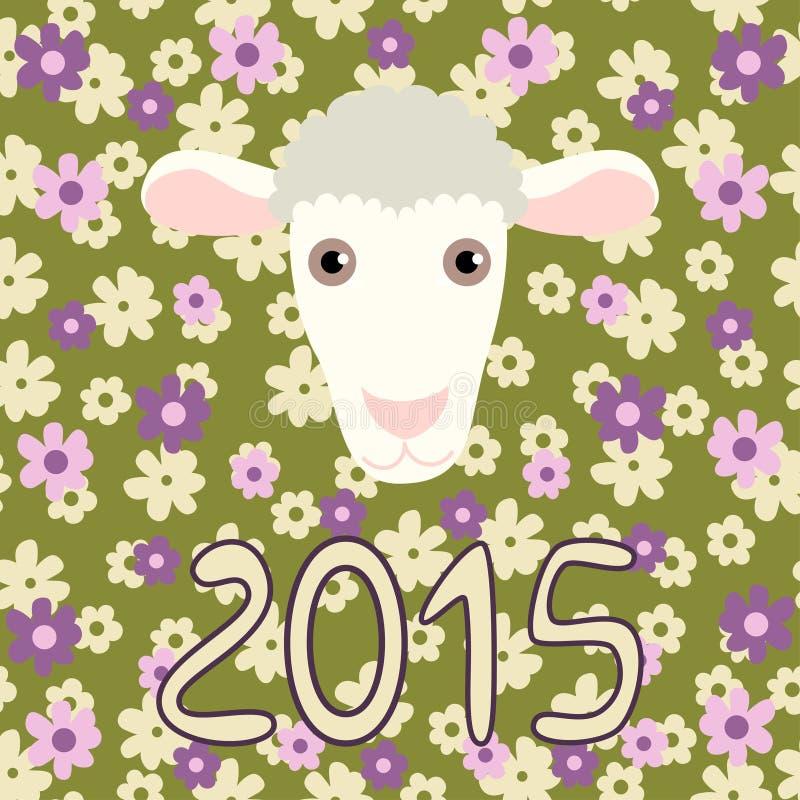 Tarjeta retra con las ovejas y las flores de la historieta para libre illustration