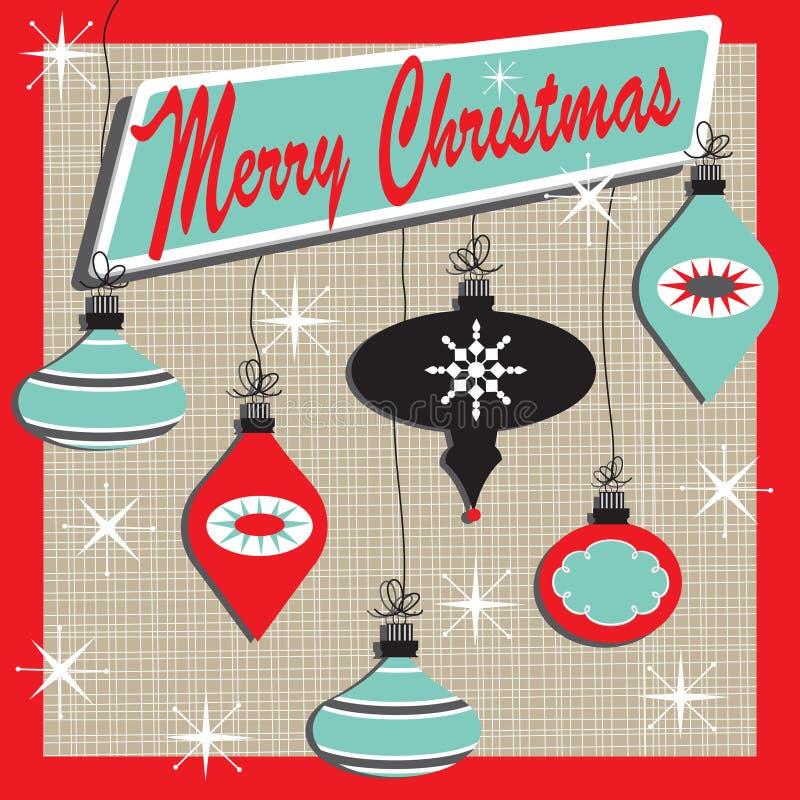 Tarjeta retra de la Feliz Navidad stock de ilustración
