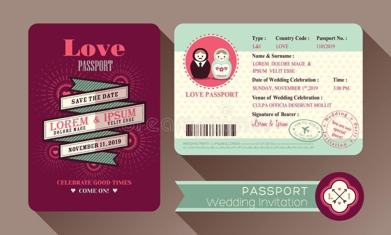 Tarjeta retra de la invitación de la boda del pasaporte de la visa ilustración del vector