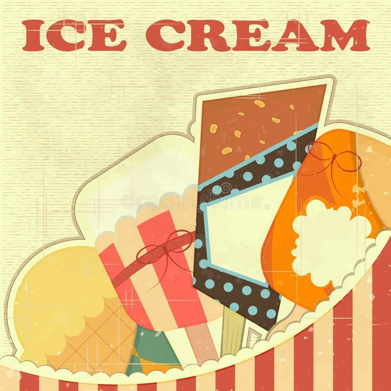 Tarjeta retra del color del helado stock de ilustración