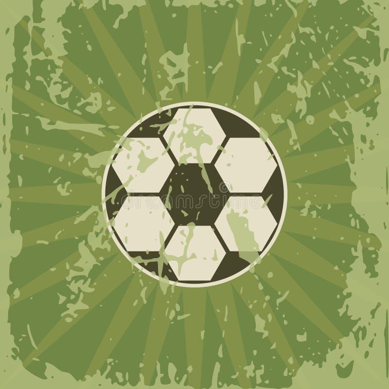 Tarjeta retra del fútbol con la bola de juego stock de ilustración