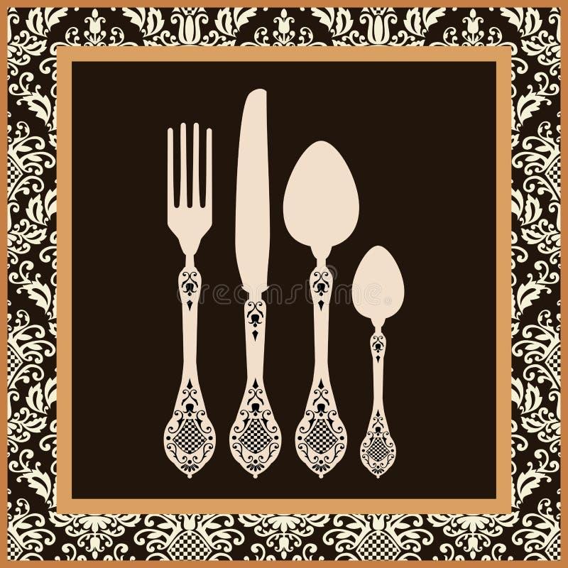 Tarjeta retra del menú de la cuchillería stock de ilustración