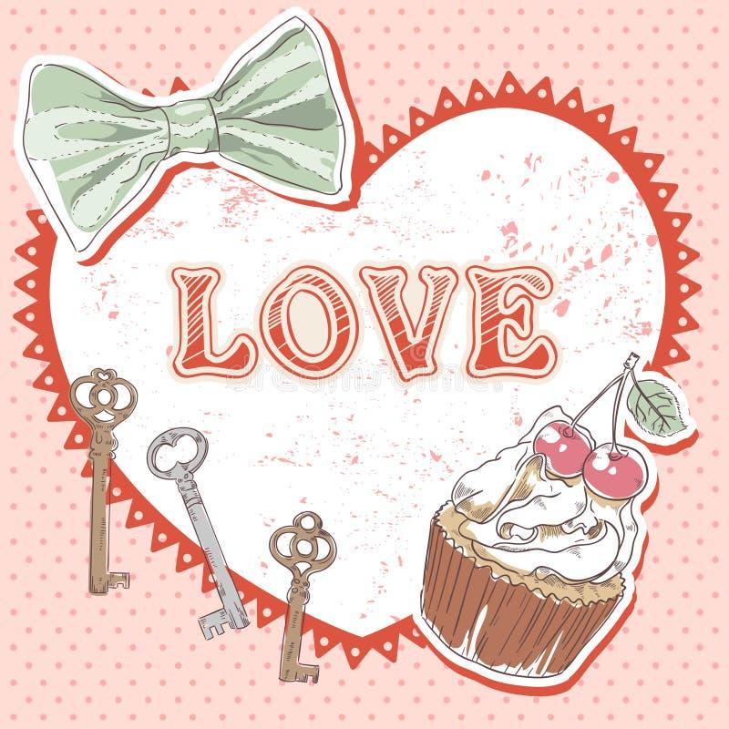 Tarjeta retra romántica de la tarjeta del día de San Valentín stock de ilustración