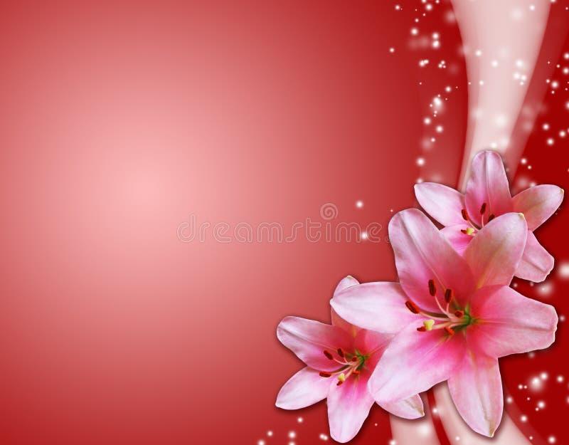 Tarjeta roja con las flores rosadas ilustración del vector