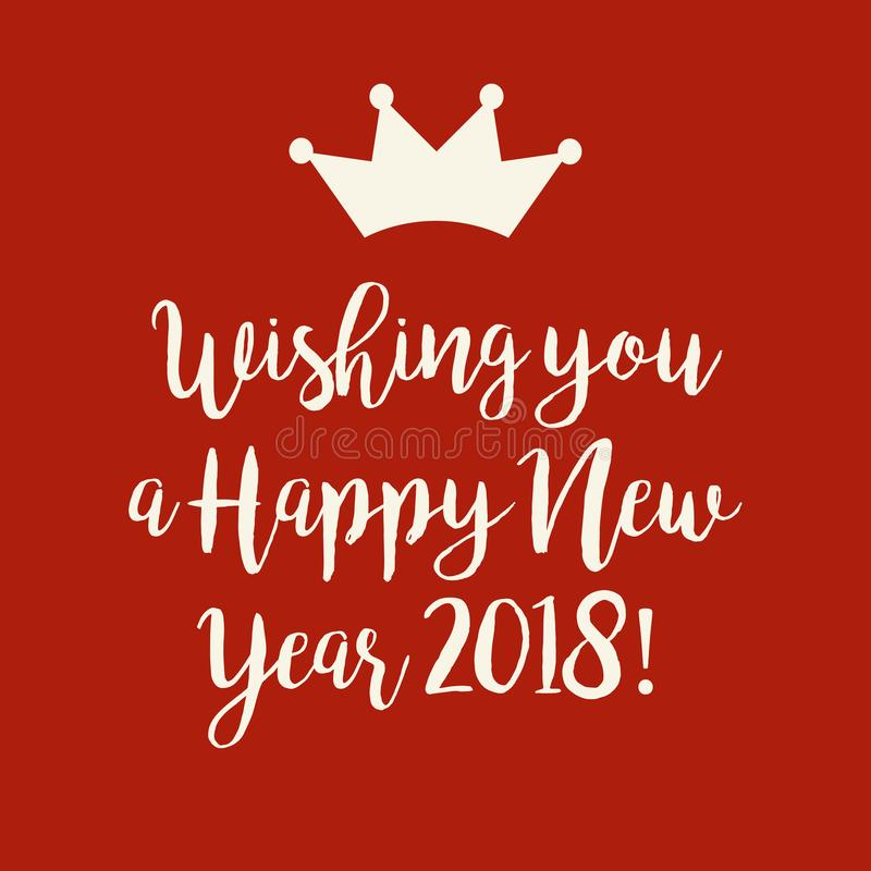 Tarjeta Roja De La Feliz Año Nuevo 2018 Con Una Corona Stock de ...