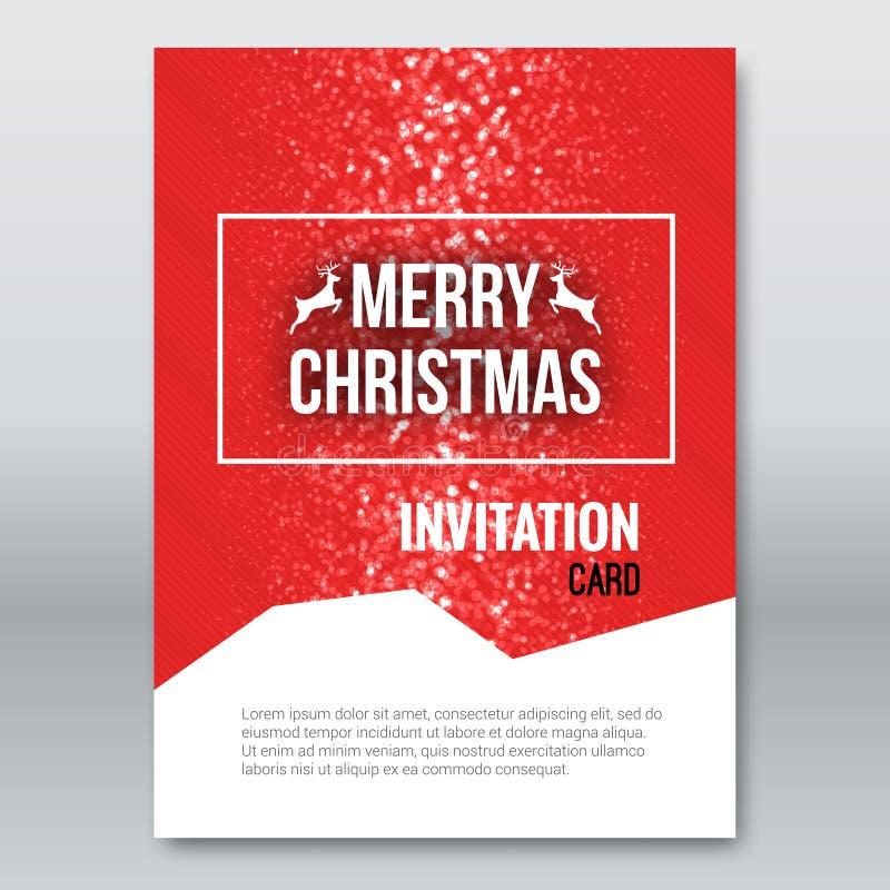 Tarjeta Roja De La Invitación De La Feliz Navidad, Plantilla Del ...
