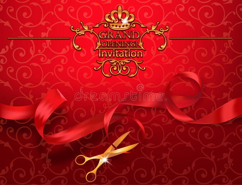 Tarjeta roja de la invitación de la gran inauguración con las tijeras y cinta roja ilustración del vector