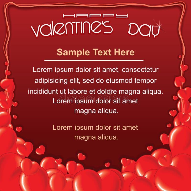 Tarjeta roja del día de tarjetas del día de San Valentín Plantilla del fondo stock de ilustración