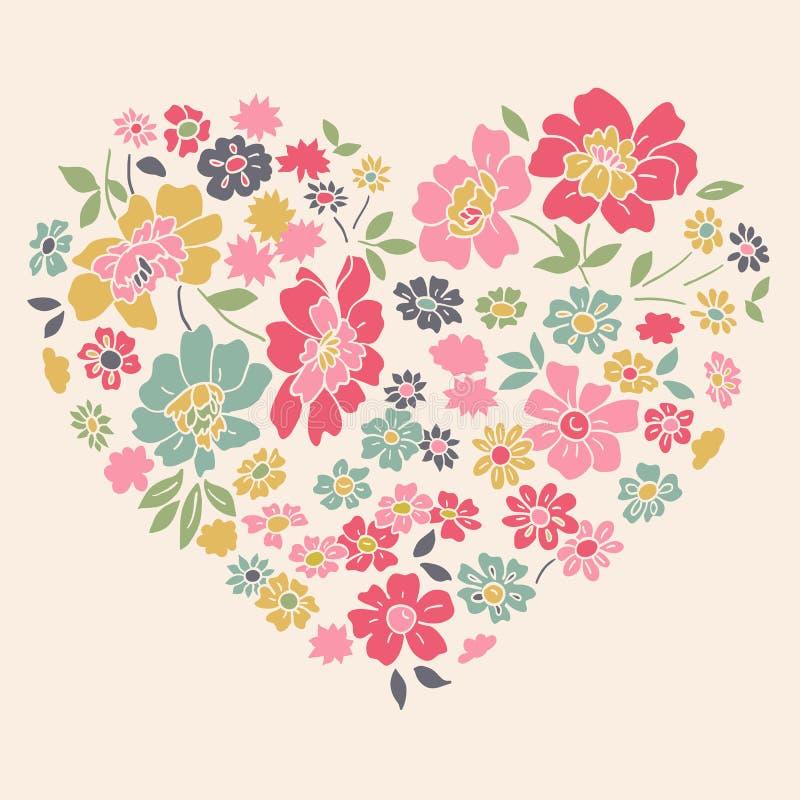 Tarjeta romántica con el corazón floral libre illustration