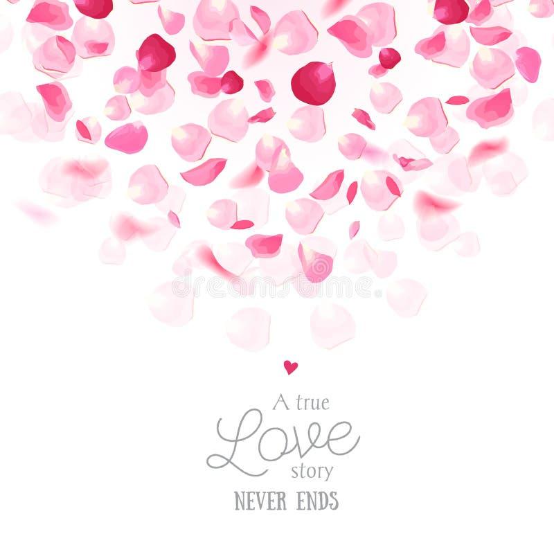 Tarjeta romántica fresca de lujo del vector de los pétalos color de rosa ilustración del vector