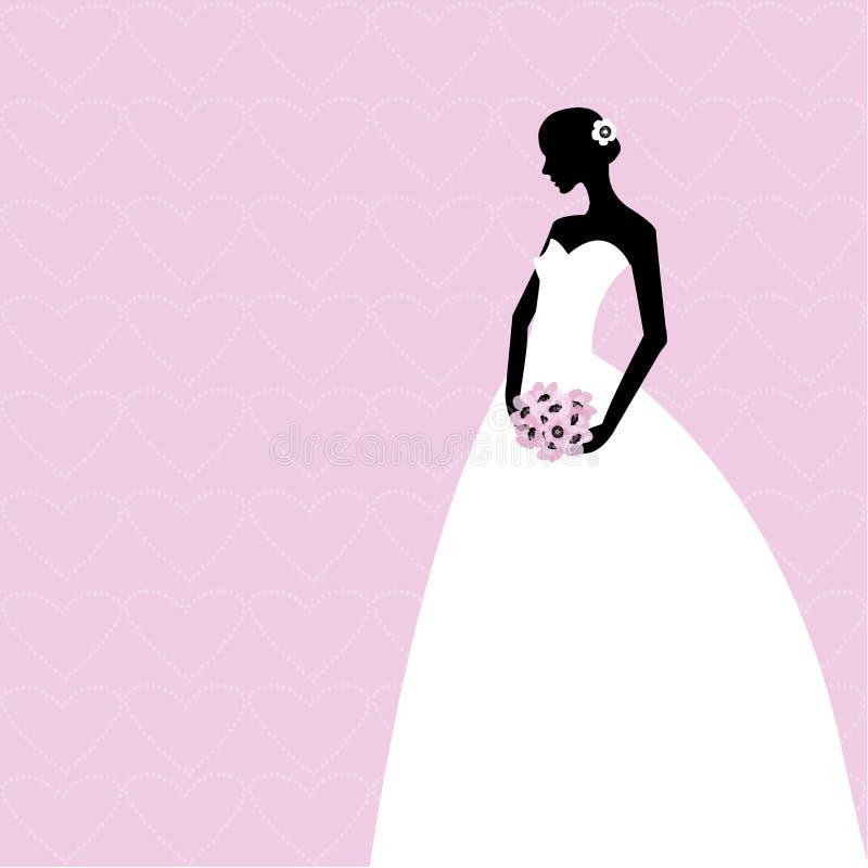 Tarjeta rosada con la novia libre illustration