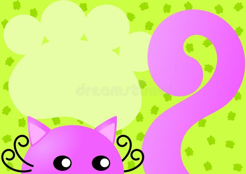 Tarjeta rosada de la invitación del gato stock de ilustración