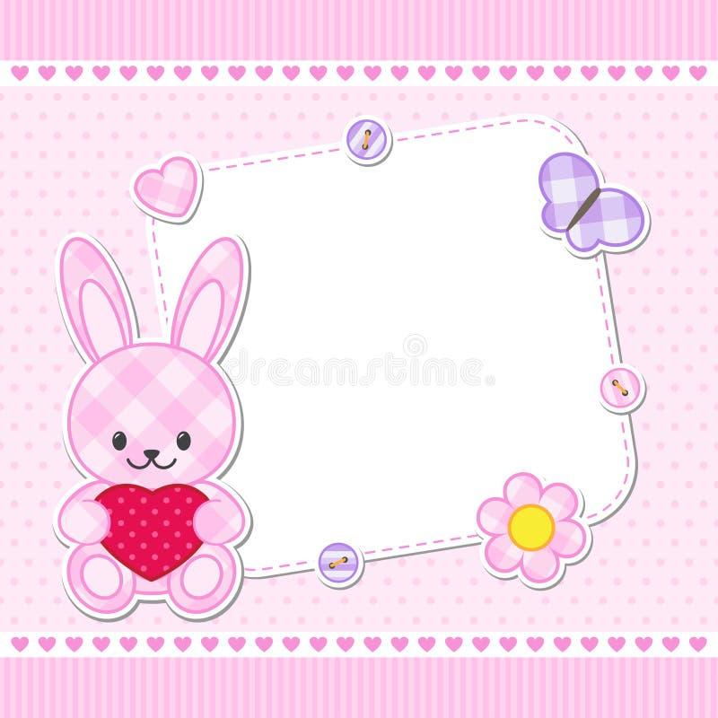 Tarjeta rosada del conejito stock de ilustración