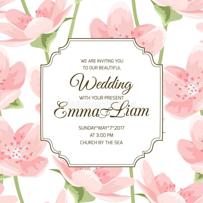 Tarjeta rosada floreciente de la invitación de la magnolia de Sakura ilustración del vector