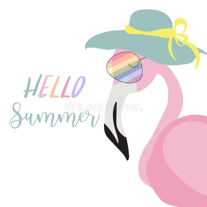 Tarjeta rosada verde de la invitación con el flamenco y el sombrero en verano ilustración del vector