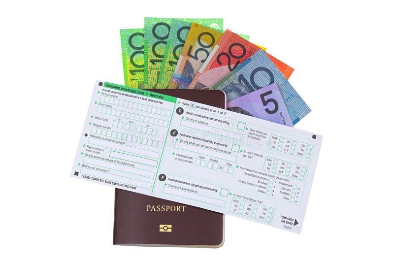 Tarjeta saliente del pasajero de Australia en pasaporte con diverso Aus fotografía de archivo