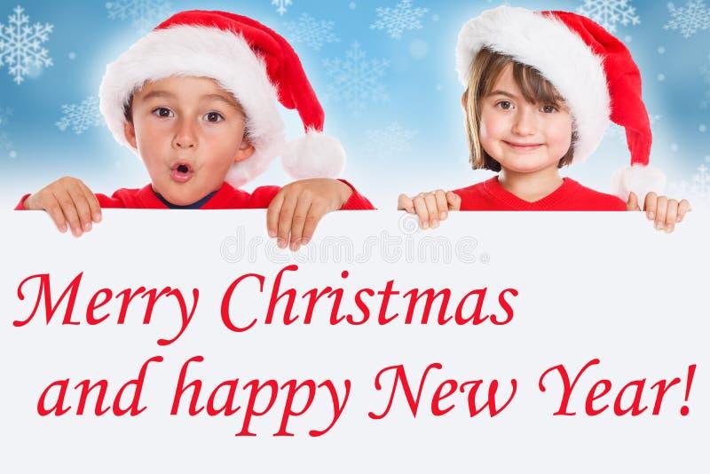 Tarjeta Santa Claus de los niños de los niños de la Feliz Navidad fotografía de archivo