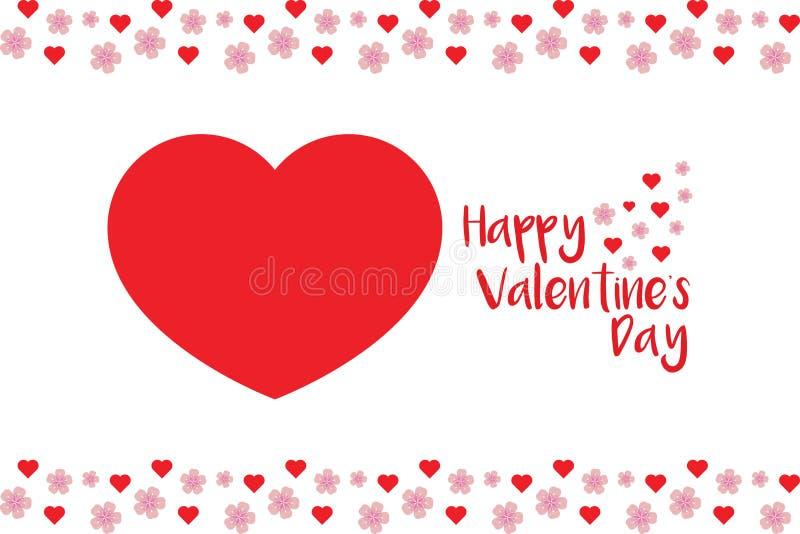 Tarjeta simple pero magnífica de la tarjeta del día de San Valentín stock de ilustración