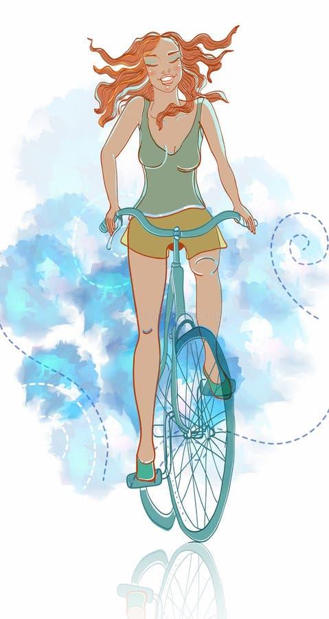 Muchacha Sonriente De La Bicicleta Del Verano Fotografía de archivo libre de regalías