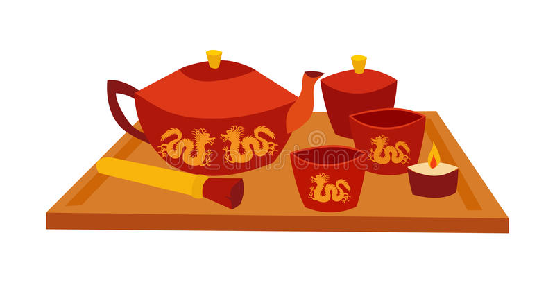 Tarjeta teremony del vector de la herramienta del té libre illustration