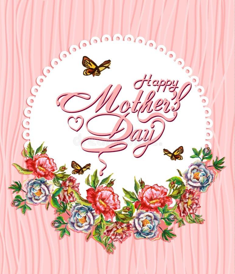 Tarjeta tipográfica feliz del diseño del día de madres libre illustration
