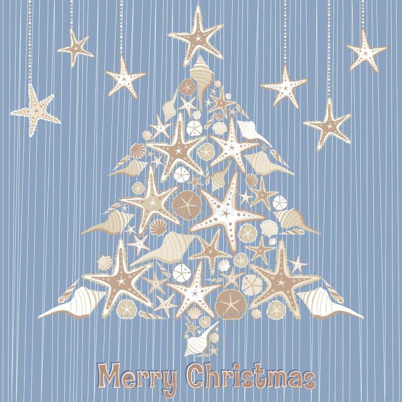 Tarjeta tropical del árbol de navidad del Seashell stock de ilustración