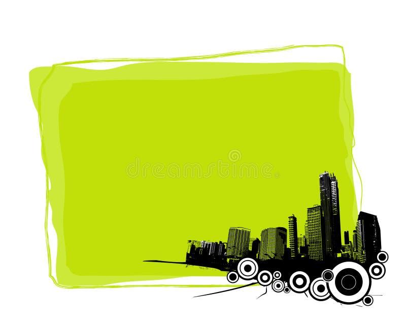 Tarjeta verde con la ciudad. Vector ilustración del vector