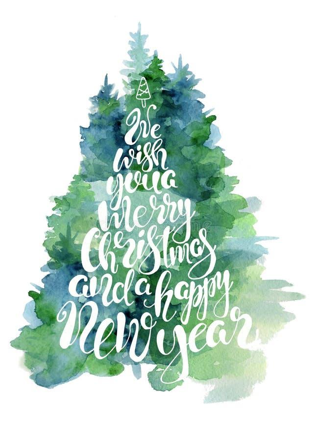 Tarjeta verde de la acuarela del árbol de abeto con cita de las letras le deseamos una Navidad del casar y una Feliz Año Nuevo ilustración del vector