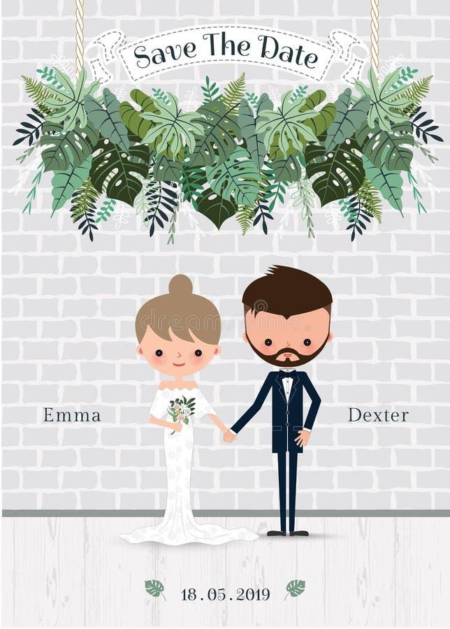 Tarjeta verde de la invitación de novia y del novio de la historieta de la boda stock de ilustración