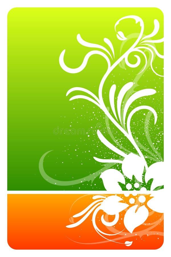 Tarjeta verde y anaranjada del diseño floral stock de ilustración