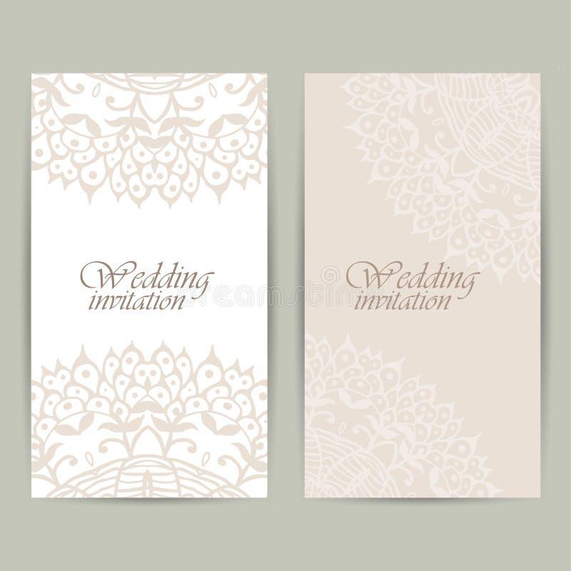 Tarjeta vertical de la invitación de la boda con el ornamento del cordón Fondo del vector stock de ilustración