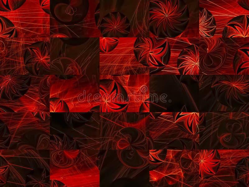 Tarjeta vibrante del mosaico del fractal de la flor del color del estilo de la rejilla abstracta del concepto stock de ilustración