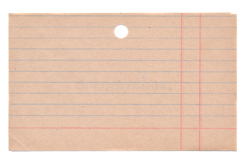 Tarjeta vieja aislada de la fichero-cabina de los boks de la biblioteca fotografía de archivo libre de regalías
