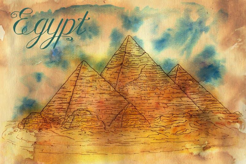 Tarjeta vieja con las pirámides egipcias stock de ilustración