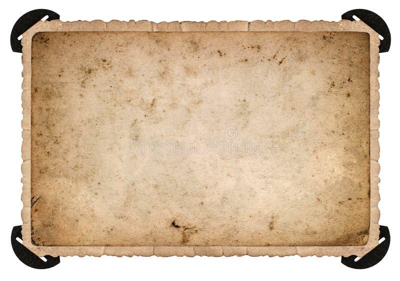 Tarjeta vieja de la foto con la esquina Marco de la foto Papel envejecido fotografía de archivo