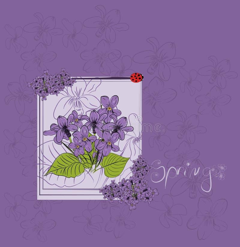 Tarjeta violeta hermosa ilustración del vector