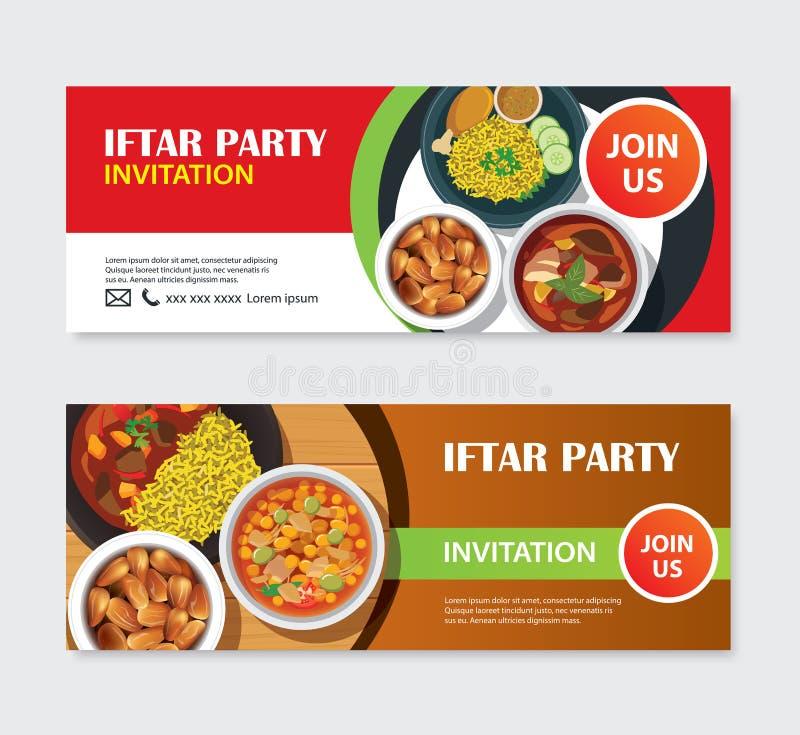 Tarjeta y bandera de felicitación de las invitaciones del partido de Iftar con el backg de la comida ilustración del vector