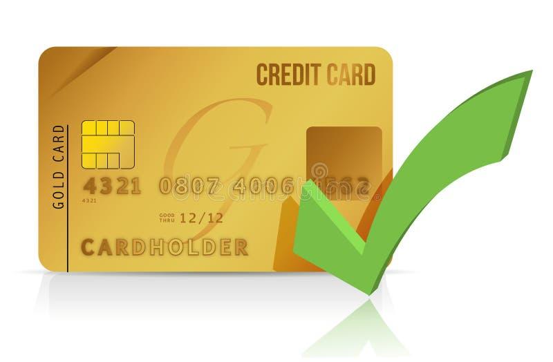 Tarjeta y marca de verificación de crédito ilustración del vector