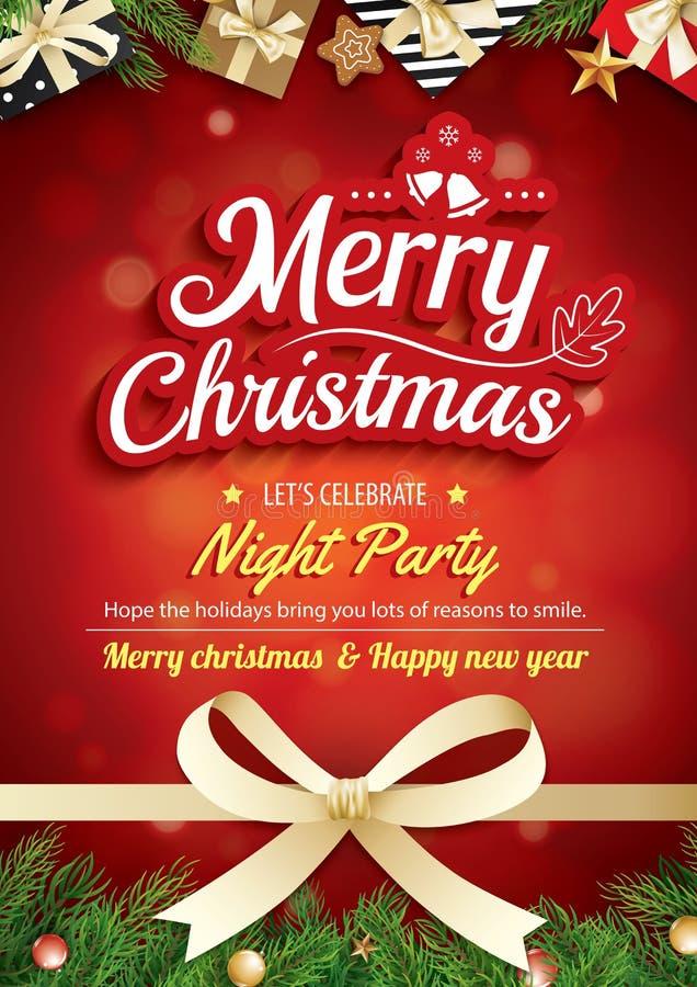 Tarjeta y partido de felicitación de la Feliz Navidad en invita rojo del fondo stock de ilustración