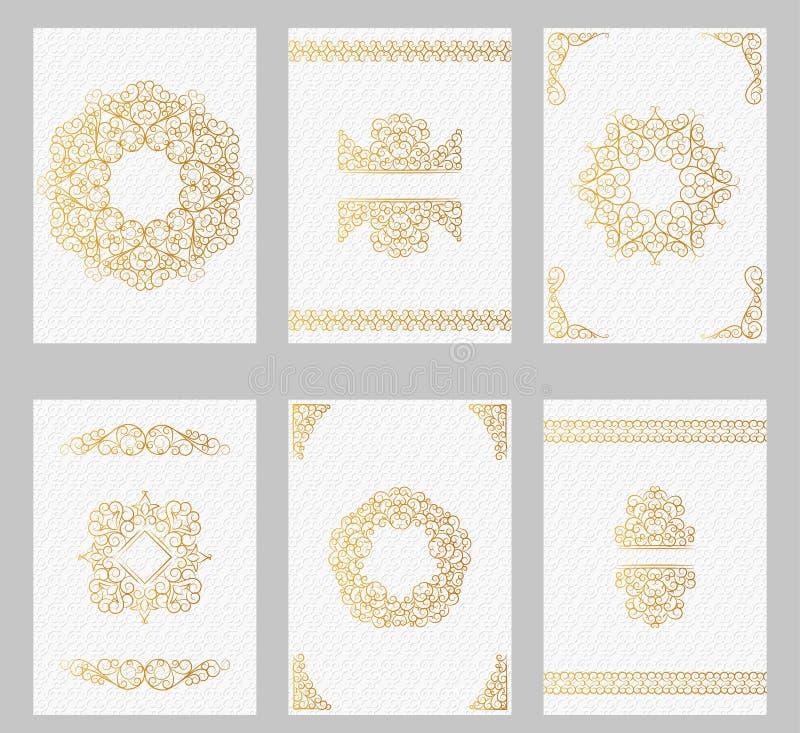Tarjetas adornadas del vintage con la línea marcos y fronteras del arte stock de ilustración