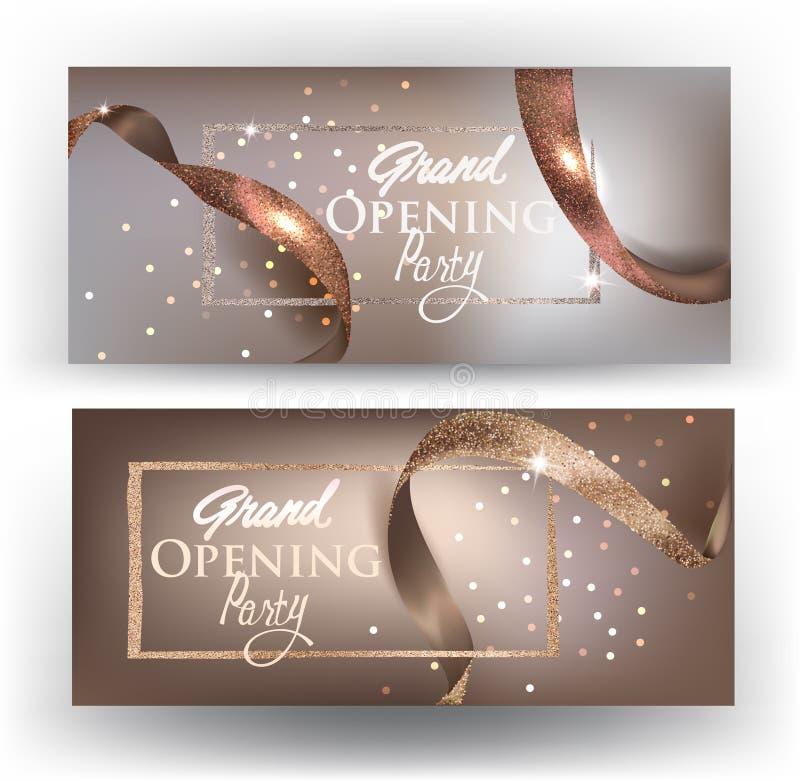 Tarjetas beige de la gran inauguración elegante con las cintas realictic stock de ilustración