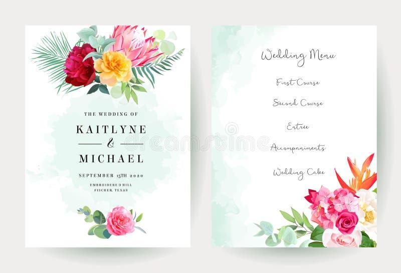 Tarjetas brillantes tropicales del diseño del vector de la acuarela que se casan y de las flores libre illustration