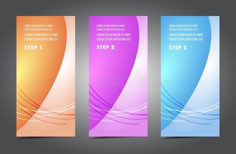 Tarjetas coloridas del profesional y del diseñador stock de ilustración