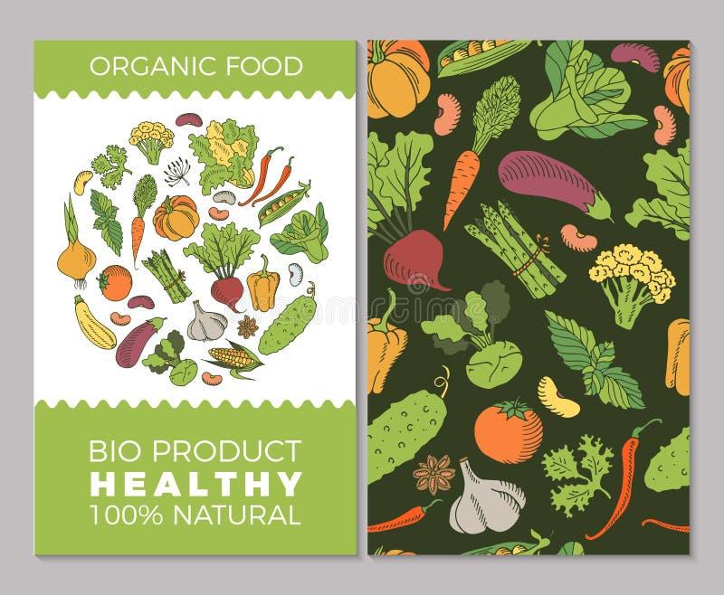 Tarjetas con las verduras stock de ilustración