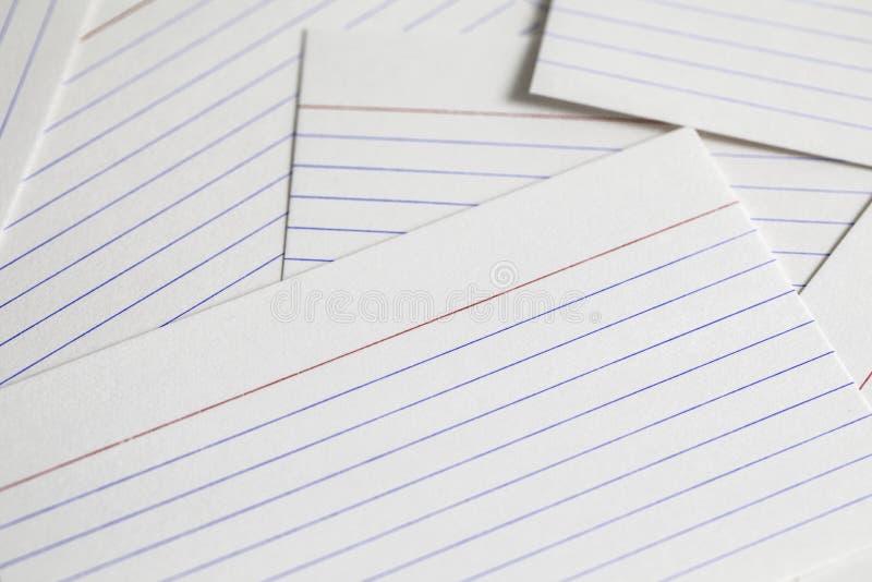Tarjetas de índice imágenes de archivo libres de regalías