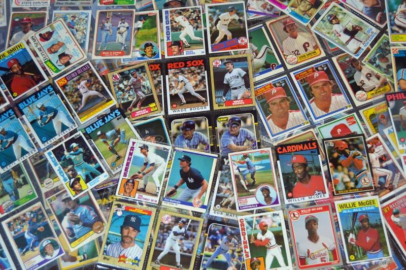 Tarjetas de béisbol imagen de archivo
