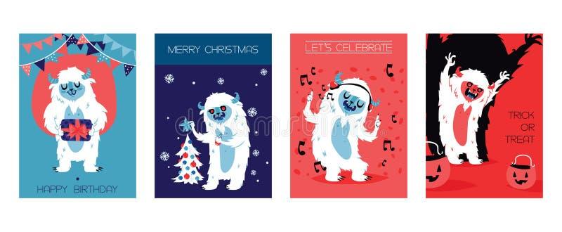 Tarjetas de caracteres de Bigfoot del yeti para el cumpleaños, la Navidad, Halloween Ilustración del vector Deje s celebrar Truco ilustración del vector